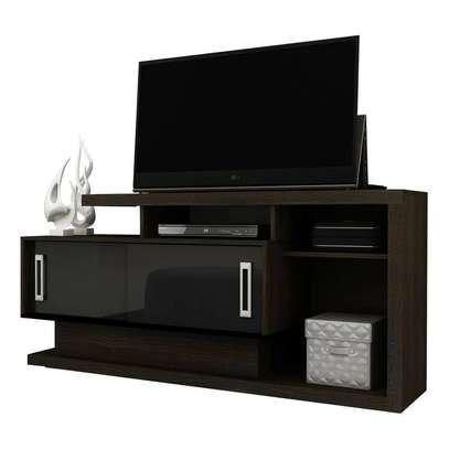 Tecno Mobili TV Stand Rack For 50' TV - Dark Brown/ GLOSS BLACK DOORS image 1