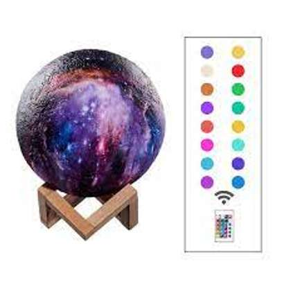 3D LED Painted Starry Sky Small Night Light Touch Switch/ Remote Control Color-Changing Magical Galaxy USB LED Moon Night Light 22CM image 1