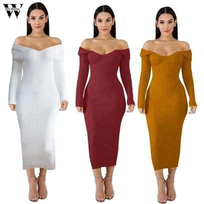 Off shoulder sweater dress image 2