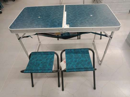 Folding camping table with four stools