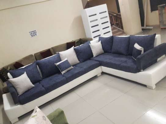 Great blue-white L-shape sofa, 5 or 7 seater image 3