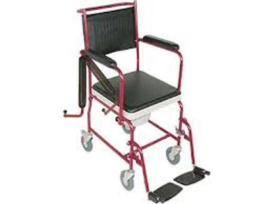 Commode seat with wheels movable armrest image 1