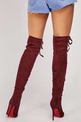 Lace Up Knee High Suedette Boots image 2