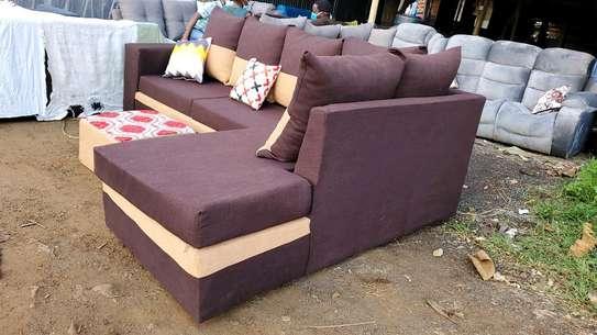 Brown L seat