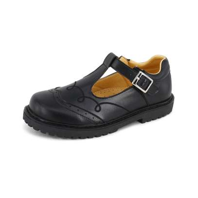 Black Leather School Shoes For Girls