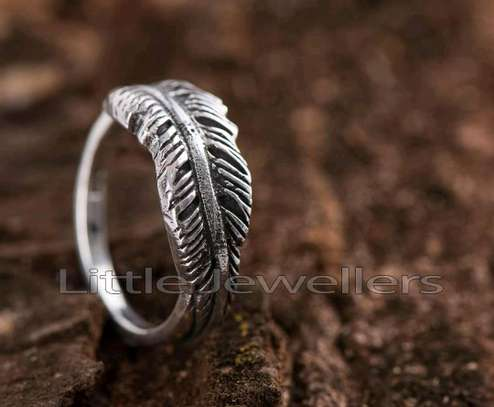 Sterling Silver Oxidized leaf  Promise Ring