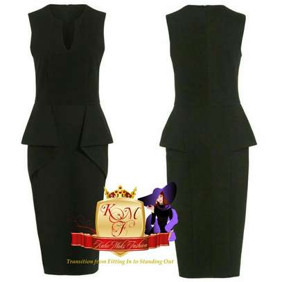 Black Front DetIal Bodycon Dress Midi Made in U.K image 1