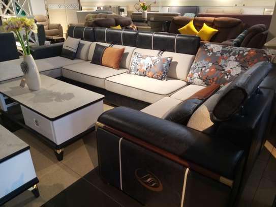 Fabric & leather corner sofa image 4