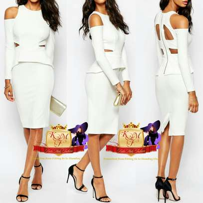 Caged Back Peplum Midi Dress