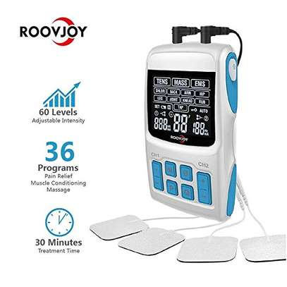 ROOVJOY TENS Unit Muscle Stimulator Pulse Massager 3 in 1 Back Pain Relief Dual Channles 36 Modes Electric Device Electrodes Therapy Accupoint Pads Machine image 2