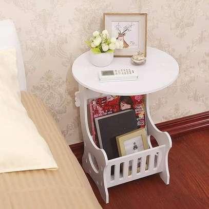 Multi-purpose bedside/balcony/magazine holder/coffee/living room white round table image 1