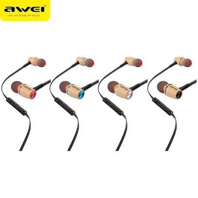 Awei ES80TY Wooden Dynamic Earphones In Ear Stereo Subwoofer Bass, Mic image 7