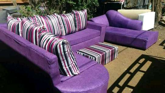 Purple L seat plus a sofabed image 1