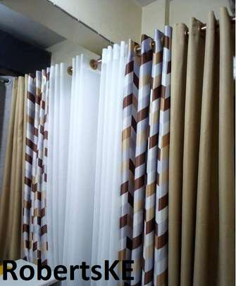 printed yellow and white curtain image 1