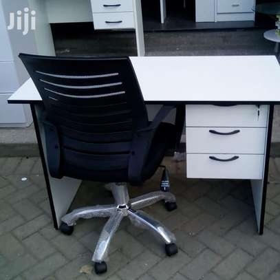 1.2 Metre White Desk and an Office Chair image 1