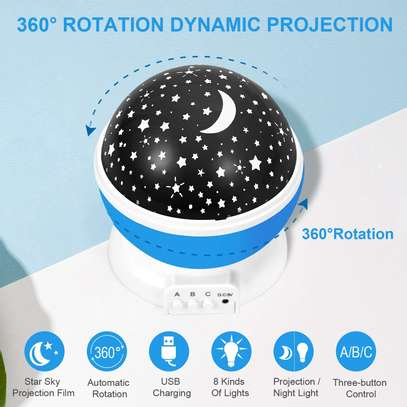 LED Projector Star Moon Nights Baby Night Lights Moon stars Degree Rotation 8 Color Changing Romantic Night Lighting Lamp image 13