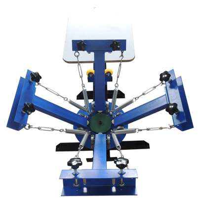 small simple manual rotary 4 color 1 station screen printing. image 1
