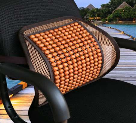 Car seat office chair back rest with wooden massage beads image 1
