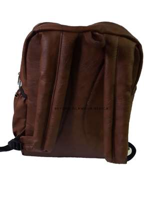 Brown Leather Backpack Travel  and Laptop Bag image 2