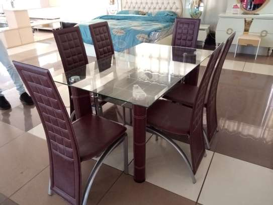 6Seater glass Dining Table image 1