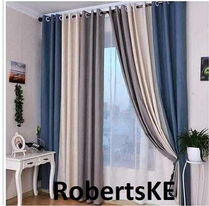cream grey curtain image 1