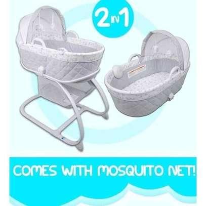 2-in-1 Moses Basket Bassinet Baby Carrier Bedside Crib (White)