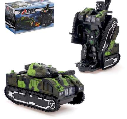 Kids Battery Operated Army Tanker Transformer Robot Toy image 1