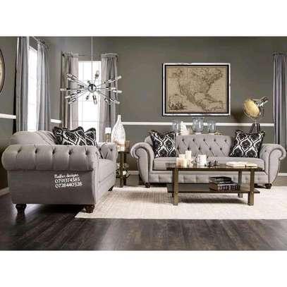 Three seater sofa plus two seater sofa/complete set of sofa/beige sofas/modern sofas/tufted sofas image 1