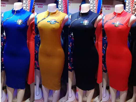 Chinese Collar Stretcher Bodycon Dress