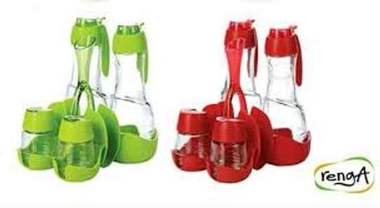 Oil Vinegar Salt Pepper Shaker Set With Toothpicks Serviettes Holder - Green and red image 3