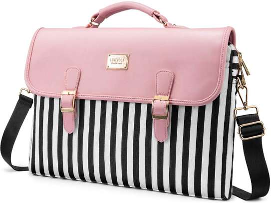 Computer Bag Laptop Bag for Women Cute Laptop Sleeve Case for Work College, Slim-Pink, 15.6-Inch image 1