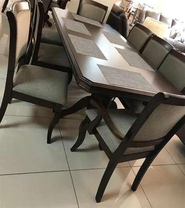 9 piece dining table hardwood Seats 8 people image 1