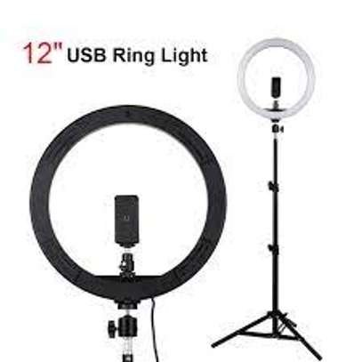 12inch LED Ring Light For Makeup RGB Photography Light with phone holder image 1
