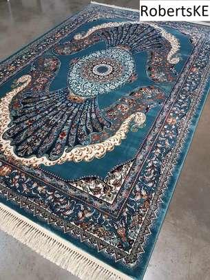 Elegant bluish persian carpet 5by8 image 1