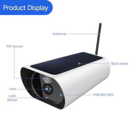 Wireless Outdoors Solar Powered Cctv WiFi Bullet 1080P image 5