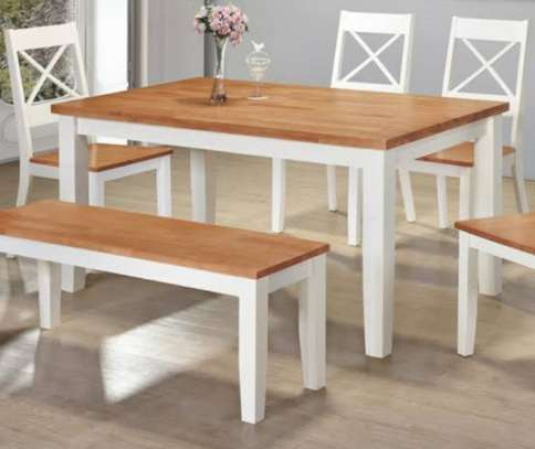 Dining table in white and grey top image 2