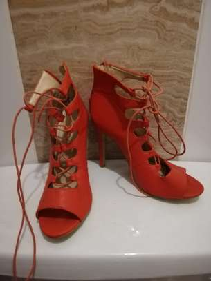 Red Lace with laces high heels. Size 37 image 2