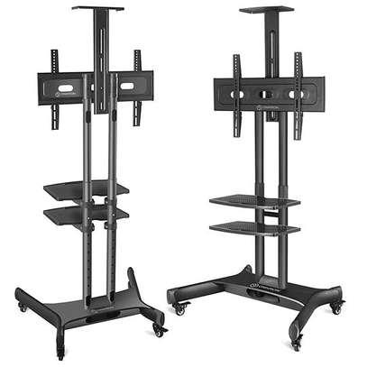 """ONKRON Mobile TV Stand TV Cart with Wheels & 2 AV Shelves for 32"""" – 65 TS1552 image 3"""