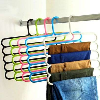 4 Pieces 5 Bar Trouser Hanger Rack - Hold 5 Pairs Of Trousers - Ties Scarves - Green