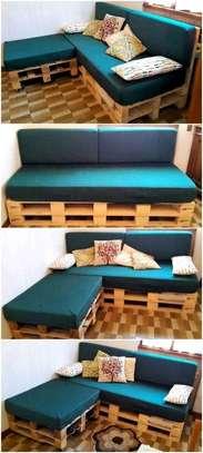 Beautiful Modern Versatile L-Shaped Pallet Sofa image 1