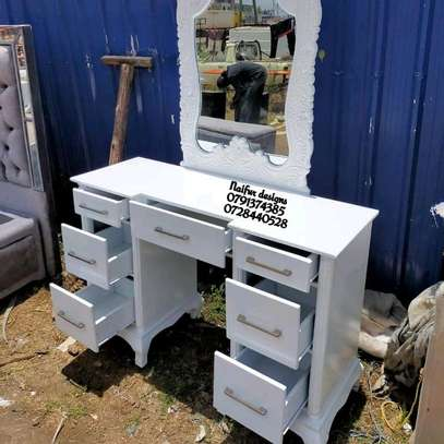 White dresser/modern dresser/dressing table/dressing mirror/dressing table with mirror image 2