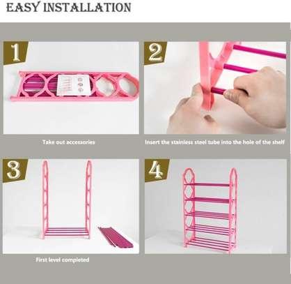 5 tier 15 pairs Foldable portable shoe rack organizer image 3