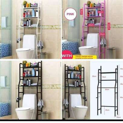 Modern new metal stand or rack with Storage Shelving for toilet, washing and organizing storage white image 1
