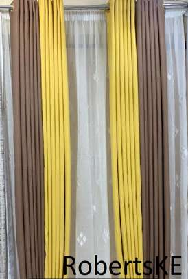 brown and yellow curtain image 1