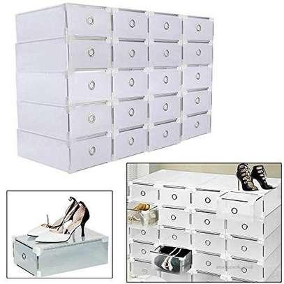 Shoes Storage Boxes Shelf Home Organizer - 4 Boxes image 1