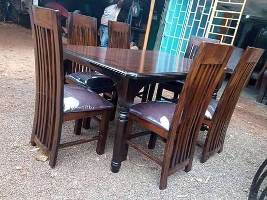 6 Seater Mahogany Framed Dining Table Sets. image 3