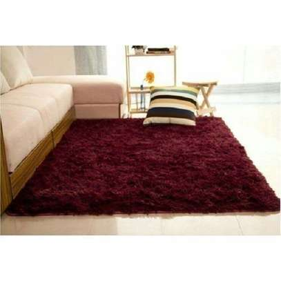 Maroon Soft Fluffy Carpet 5*8 image 1