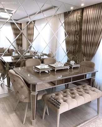Modern mirrored Dining set/modern six dining set image 1