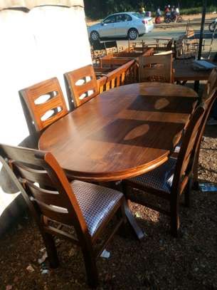 6seater dinning table right wall nut image 1