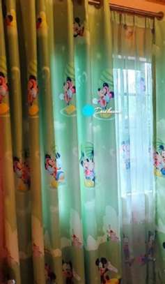 green cartoon themed curtains image 1